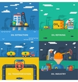Oil industry flat set vector image