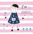 Baby background with cute cow vector image