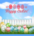 easter eggs on a grass field vector image