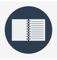 Flat style icon open notebook vector image