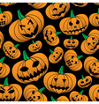 orange halloween carved pumpkin seamless pattern vector image