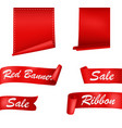 red ribbons banners set vector image