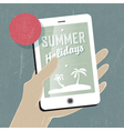 summer travel concept with phone vector image vector image