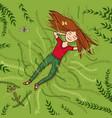 girl lying on grass summer vector image vector image