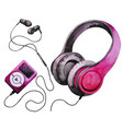 watercolor headphones and mp3 player vector image