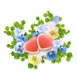 bouquet flowers hearts on white background vector image