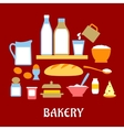 Bakery concept with dough ingredients vector image vector image