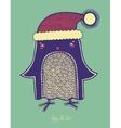 christmas bird of doodle penguin in a hat merry c vector image