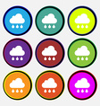 cloud rain icon sign Nine multi colored round vector image