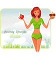 girl chooses between apple or cake vector image