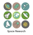 Space Research Line Art Thin Icons Set vector image
