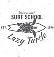 Surf school concept Summer surfing retro badge vector image