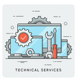 technical services thin line concept vector image