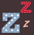 Set of stitched font - Letter Z vector image