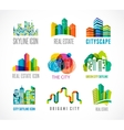 Colorful real estate city and skyline icons vector image vector image