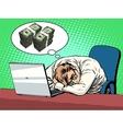 Businessman dreams of money vector image