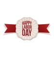 Happy Labor Day paper Label with red Ribbon vector image