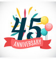 anniversary 45 years template with ribbon vector image