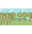 Background of trees with red apples vector image