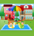 boy and girl playing in the water at home vector image