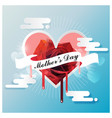 happy mothers day on white ribbon with red rose vector image