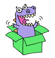 happy purple dragon in green box vector image
