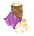 Open Bag of Chips on White Background vector image