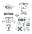 Skateboard dog emblems and icons vector image