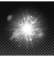 Sparkling bright star light with lens flare effect vector image