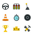 car racing icons set flat style vector image