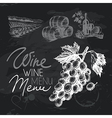 Wine hand drawn chalkboard design set vector image vector image
