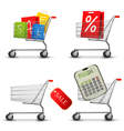 collection of shopping carts vector image vector image