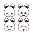 bear teddy kawaii cartoon cute icon set vector image