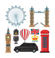 collection set of london landmarks vector image
