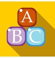 Cubes with letters ABC icon flat style vector image