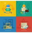 Engineer Flat Icons Composition Square vector image