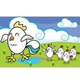 Funny cartoon chicken with chickens walking on vector image