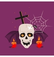 Halloween Skull and Calndles vector image