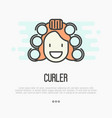 happy cartoon woman with curlers vector image