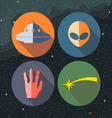 Unidentified flying objects icons set vector image