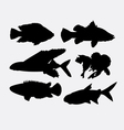Fish animal silhouette 2 vector image vector image