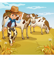 A cowboy with two cows eating vector image vector image