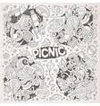 line art set of picnic doodle designs vector image