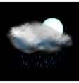 Moon and cloud and rain weather icon vector image
