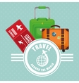travel around world ticket suitcase luggage label vector image