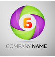 Number six logo symbol in the colorful circle vector image