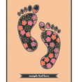 Floral composition on the feetprint vector image vector image
