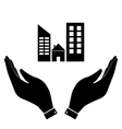 Real estate in hand icon vector image