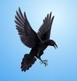 Black raven on blue background vector image vector image