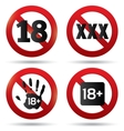 Adults only content button XXX sticker vector image